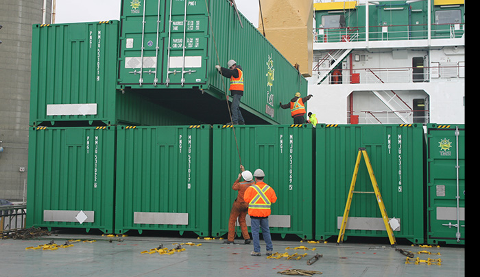 Containers on their way to Newfoundland